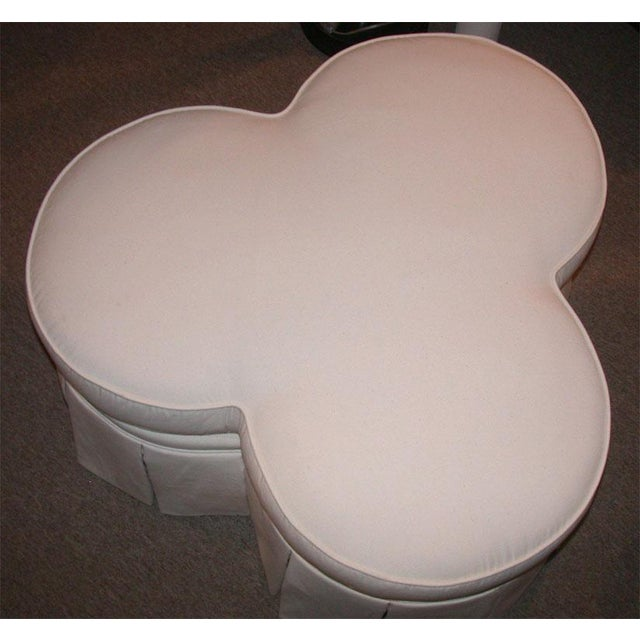 Image of Ivory Clover Shaped Ottoman or Coffee Table