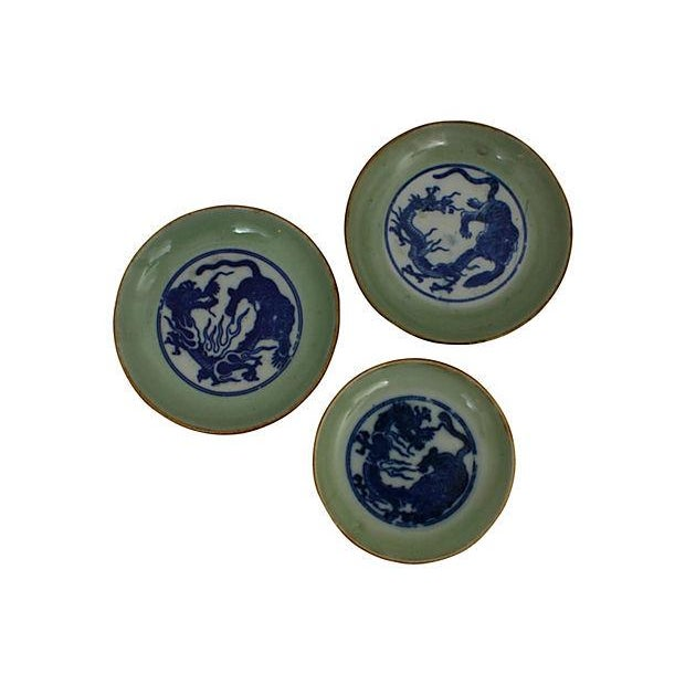 Early 19th-C. Celadon Dishes, S/3 - Image 1 of 5