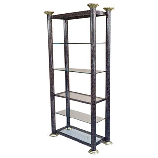 Faux Marble Finish And Brass Etagere