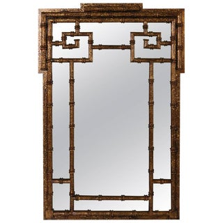Tony Duquette Style, Hollywood Regency Faux Bamboo Gilt Gold Mirror