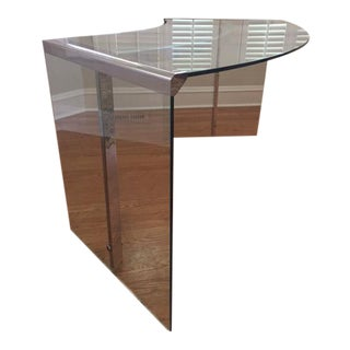 DIA Curved Glass & Chromed Steel Writing Desk