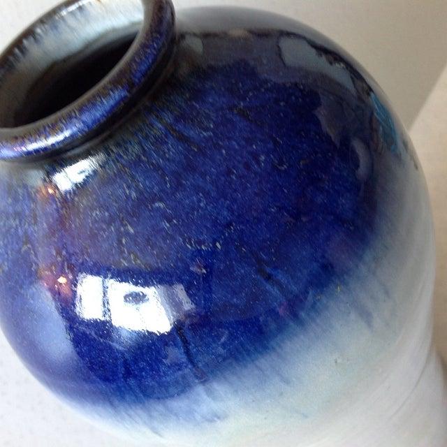 Image of Studio Pottery Grey & Cobalt Blue Vase