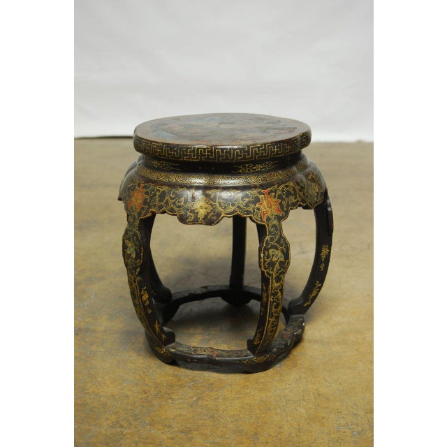 Chinese black lacquer garden stool side table chairish for Garden stool side table