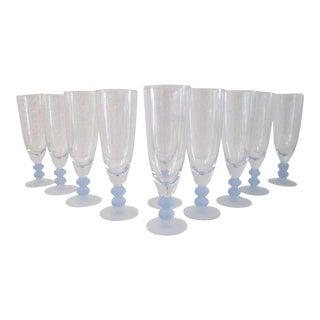 Vintage Daniel Hechter Art Deco Design Champagne Flutes - Set of 8