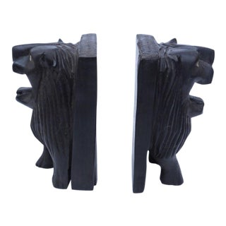 Hand-Carved African Lion Bookends - A Pair