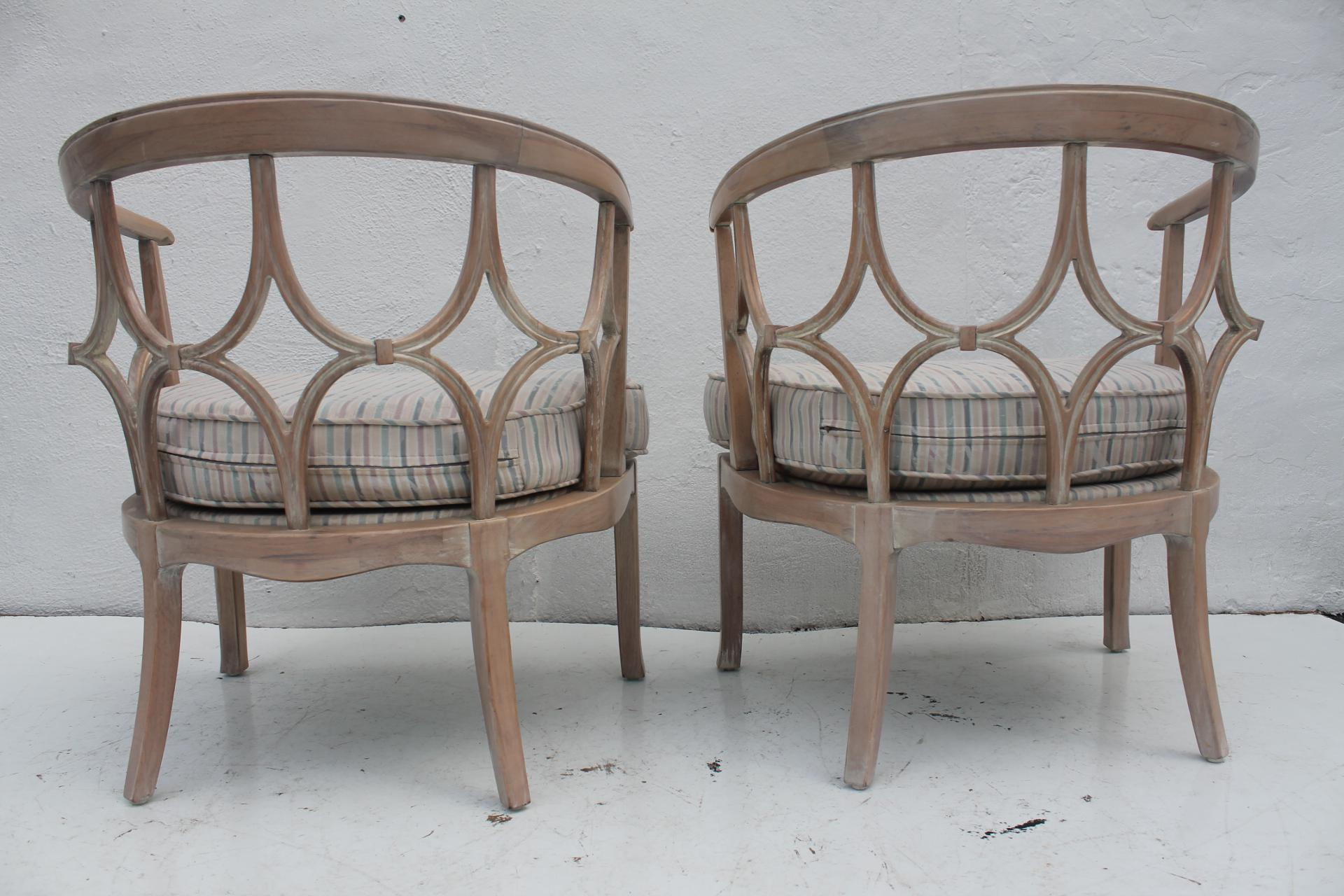 Dorothy Draper Style Hollywood Regency Chairs A Pair   Image 4 Of 11