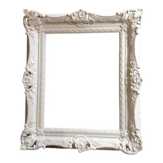 Antique Shabby Chic White Solid Wood Gilt Large Frame