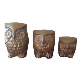 Vintage Brass Owl Figurines - Set of 3