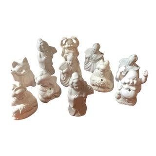 Vintage White Ceramic Tiki Cups - Set of 11
