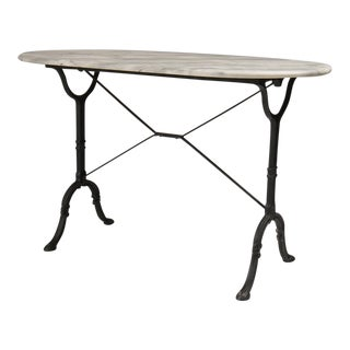 Marble Garden/Console Table with Iron Base