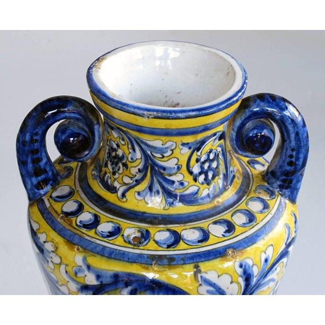 An Italian Tin-Glazed Earthenware Polychrome (majolica) double handled vase - Image 2 of 6