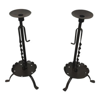 Paul Ferrante Adjustable Iron Candle Holders- A Pair