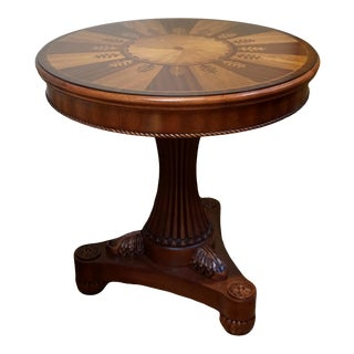 Round Marquetry Inlay Pedestal Side Table