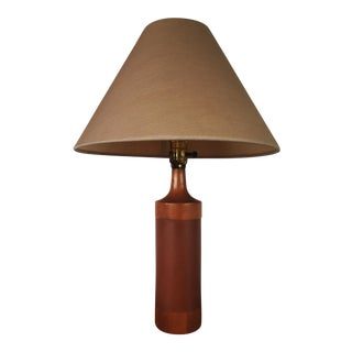 C.1960's Danish Modern Leather Wrapped Walnut Table Lamp