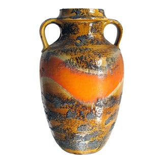 A Large-Scaled West German 1960's Orange & Ochre Painted Lava-Glazed Urn