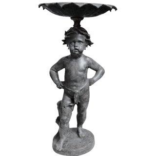 Late 19th C. Victorian Lead Putto Fountain