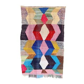 "Vintage Moroccan Kilim Boucherouite - 4'10"" x 8'2"""