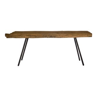 Rustic Japanese Wooden Trough Console with Hand Forged Iron Legs