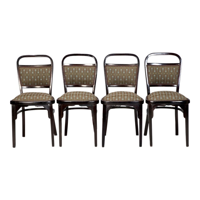 Set of 4 Otto Wagner Secessionist Walnut Dining Chairs - Image 1 of 10