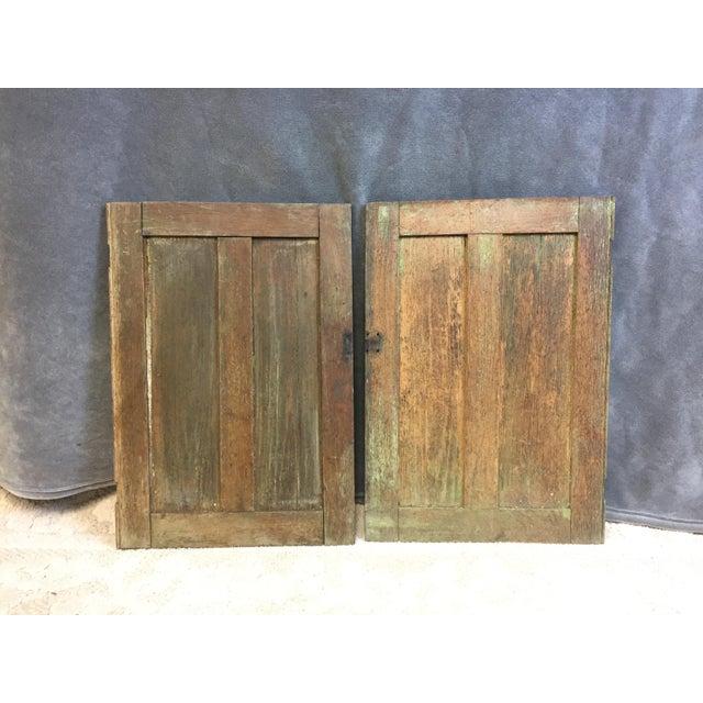 Vintage Rustic Wood Cabinet Doors - A Pair - Image 2 of 11