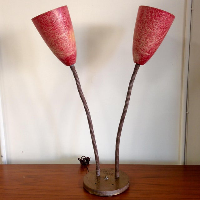 Red Fiberglass Table Lamp - Image 4 of 8