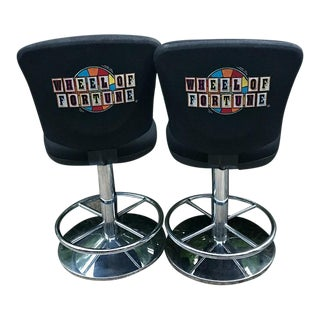 Mid-Century Wheel of Fortune Swivel Bar Stools - A Pair