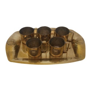 Collection of Mini Brass Mugs With Tray Set