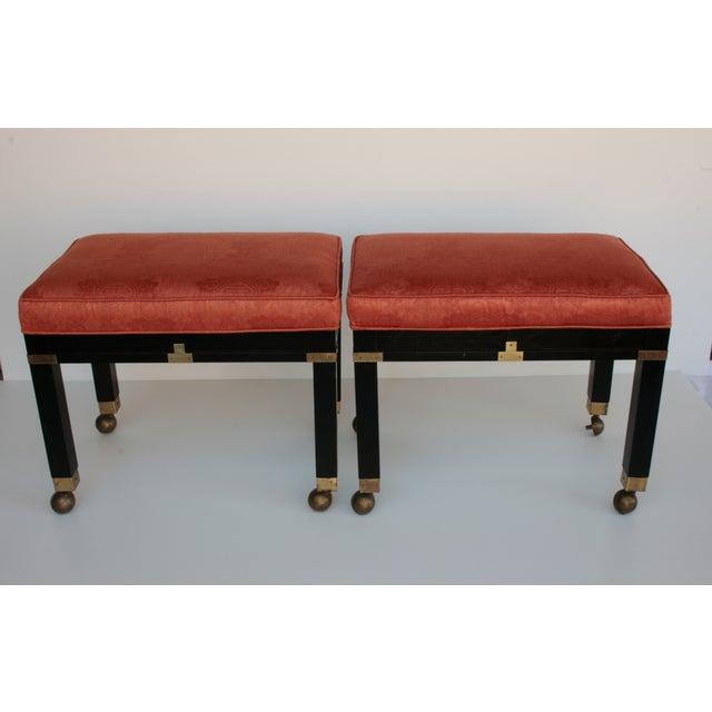 Image of Hekman Mid Century Benches/Stools - Pair