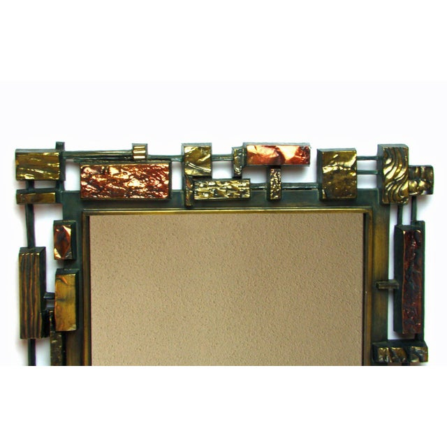 Image of Syroco Paul Evans Style Brutalist Mid-Century Modern Wall Mirror