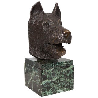 French Bronze Bust of Dog on Marble Base