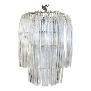 1960's Restored 2 Tier Bent Glass Chandelier