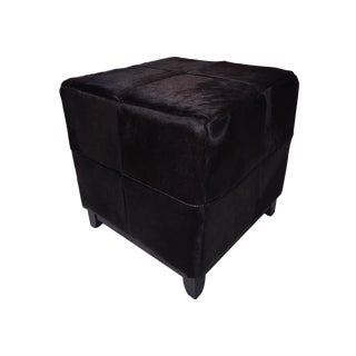 Black Cowhide Ottoman