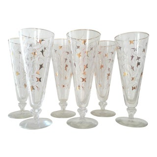 Mid-Century Gold & White Accent Pilsner Glasses - Set of 6