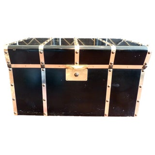 Lane Small Black Trunk with Brass Straps