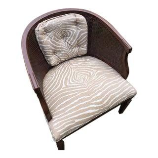 Mid-Century Brunschwig & Fils Fabric Cane Chair
