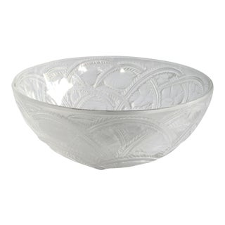 An exquisite vintage French clear and frosted glass pinsons bowl; designed by Rene Lalique, 1933