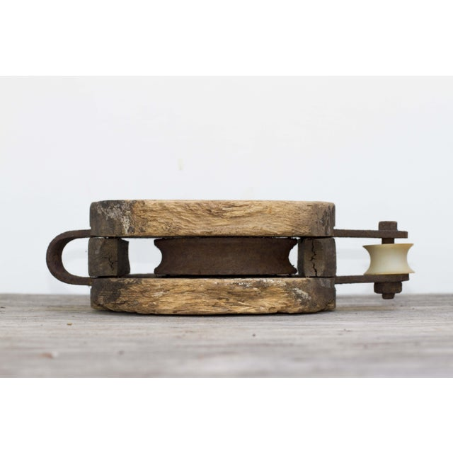 Vintage Large Wood & Cast Iron Ship Pulley - Image 4 of 5