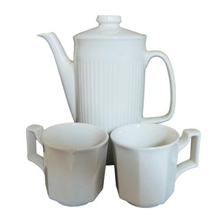 White Ironstone Tea Service Set - 3 Pieces