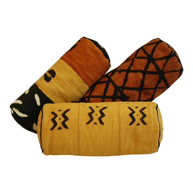 Tribal Mud-Cloth Bolster Accent Pillows - Set of 3 - Image 1 of 9