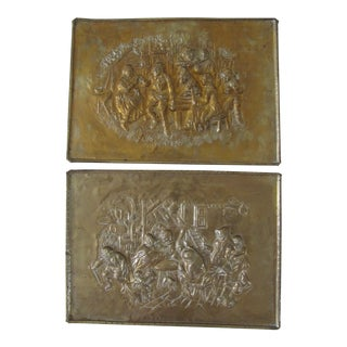 Vintage Embossed Brass Plaques - a Pair