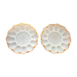 Vintage Deviled Egg or Oyster Platters - A Pair