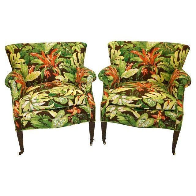 Tropical Barkcloth Chairs - A Pair - Image 1 of 7