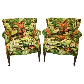 Tropical Barkcloth Chairs - A Pair
