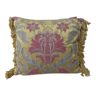 Antique Silk Brocade Pillows, Pair
