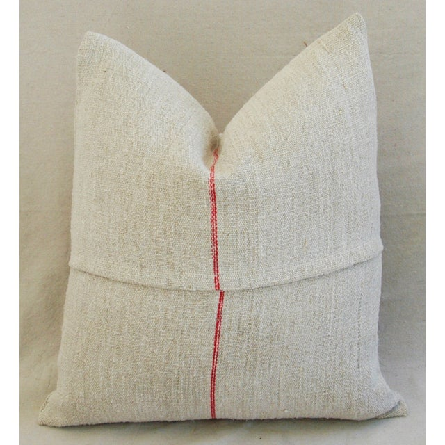 1940s French Grain Sack Textile Pillow - Image 7 of 7