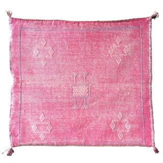 Moroccan Kilim Pink Cactus Silk Pillow Cover