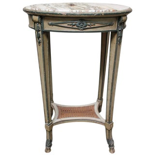 French Directoire Style Painted Wood Table with Marble Top and Caned Shelf