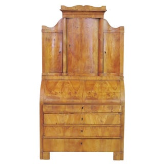 19th C. Biedermeier Cylinder Roll Secretary Desk