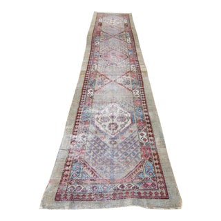 "Antique Persian Serapi Distressed Wool Runner Oushak Rug - 2'9"" x 13'4"""