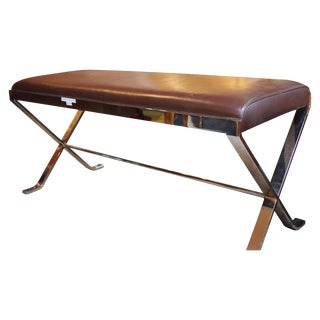 Modernist Brown Leather & Chrome Bench Seat